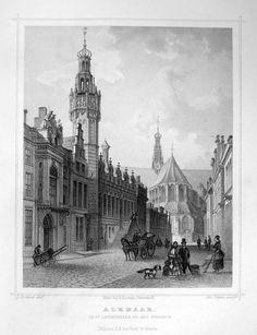Alkmaar-St.Laurenskerken Stadhuis | Herkomst : J.L. Terwen - Het Koningrijk der Nederlanden, afm. 14 x 20 cm Staalgravure 1860