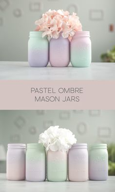 Pastel painted ombre mason jars for baby showers or home decor. Pastel painted ombre mason jars for baby showers or home decor. Glitter Mason Jars, Ball Mason Jars, Mason Jar Crafts, Mason Jar Diy, Wedding Mason Jars, Diy Bottle, Bottle Art, Bottle Crafts, Distressed Mason Jars