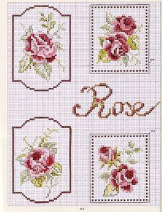 0 point de croix grille et couleurs de fils miniature rose ancienne 1
