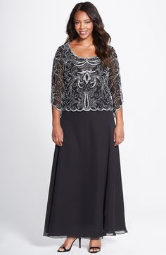 J Kara Embellished Mock Two Piece Gown (Plus Size) available at #Nordstrom