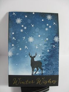 distress ink (tumbled glass, stormy sky and faded jeans) over the clear embossed stars, spritzed with gold ink, then flicked diluted white acrylic paint , Winnie & Walter Winter Woodland set, sentiment: Hero Arts, winter, Kate, Flickr - Photo Sharing!