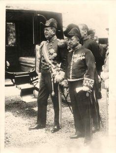 1930- Italian ambassador Giovani Majoni with Viscount Yoshitami Matsudaira during ceremony at the Imperial Palace in Tokyo, Japan.
