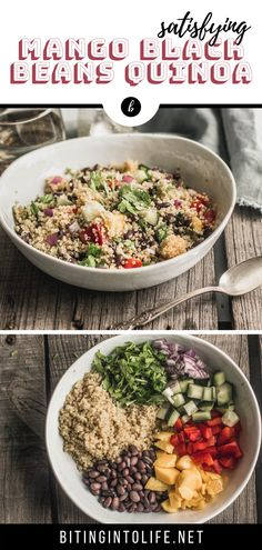 This quinoa salad recipe will be one of your favorite recipes in your collection box. It's satisfying, colorful, and super yummy. Try it now! #quinoa #highprotein #vegan #glutenfree High Protein Vegan Recipes, Vegan Recipes Plant Based, Vegan Lunch Recipes, Quinoa Salad Recipes, Vegetarian Lunch, Easy Salad Recipes, Entree Recipes, Healthy Sides, Healthy Salads