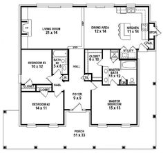 #654151   One Story 3 Bedroom, 2 Bath Southern Country Farmhouse Style  House Plan