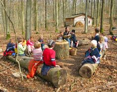 Gathering space/outdoor classroom at Waldkindergärten - Forest Kindergarten Forest Classroom, Outdoor Classroom, Outdoor School, Outdoor Education, Outdoor Learning, Forest School Activities, Nature Activities, Outdoor Activities, Outdoor Play Spaces