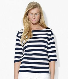 Lauren Ralph Lauren ElbowSleeve Stripe Top #Dillards