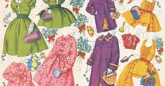 6 and Sweet 16 paper dolls 1955, Merrill #2582. I love the dolls in this set as well as the cover art. The matchi...