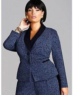 The Vanessa Blazer is the perfect way to add some spice to your work wardrobe this season. This sophisticated silhouette gets invigorated with navy leopard for a designer twist. Vanessa features luxurious ponte fabric, expert tailoring, and full lining for added comfort. Pair this jacket with the coordinating Vanessa pant or a sexy black pencil skirt for a chic workwear ensemble.    Model is wearing a 1X(14/16).  Jacket Length: 25.5'  Fabric:80% Poly 19%Rayon   Dry Clean Only  Made in the…