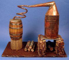 """Miniature copper still - $155 - 6 1/4"""" wide, 3 3/4"""" deep, 5 1/2"""" ta;;"""