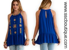 Royal Blue Embroidered Halter $34.50! A adorable halter fit tunic with drop waist ruffle featuring contrast color embroidery and keyhole button back closure. S,M,L! Order yours now! http://www.sscboutique.com/collections/new-arrivals/products/royal-blue-embroidered-halter #haltertop #embroideredtop #womensfashion