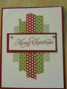 Love this card and washi tape.. Could use new CTMH Washi Wonder Hostess Stamp Set. #HomemadeChristmasCards