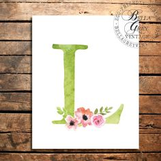 Watercolor Floral Monogram - Nursery Decor - Baby Shower - Letter L - Personalized Baby Gift - Woodland Nursery Decor
