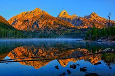 First Light at Taggart Lake by Greg Norrell from Grand Teton National Park #nature #morning. Prints start at $30.