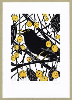 Blackbird - 'Hidden in the Crab Apples' - Original limited edition hand cut linocut print.
