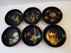 Vintage Lacquer Bowls Salad Dessert Bowls set of 6 Black Gold Japanese Bowls, Black Clay, Dessert Bowls, Bowl Set, Black Gold, Decorative Plates, Salad, Desserts, Ebay