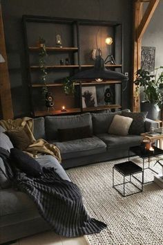 Black Interior Design, Interior Design Themes, Interior Decorating, Industrial Interior Design, Interior Modern, Dark Living Rooms, Home Living Room, Living Room Decor, Hippie Living Room