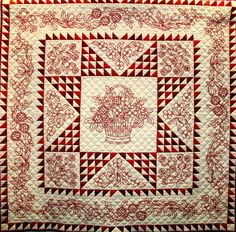 Red Radiance, ©2003 by Diana Reinhardt Annis. Redwork and hand quilting.