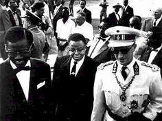 Onafhankelijkheid van Belgisch Congo 1960. Koning Boudewijn met Kasavubu en Patrice Lumumba.