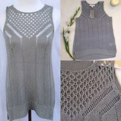 MICHAEL KORS Gray Silver Knit Crochet Tank Gorgeous NWT loose/open weave knit tank in pearl heather gray (almost like a shimmery silver!) from Michael Kors. Delicately designed and pairs perfectly with dark jeans, or a black skirt for work! Undershirt is recommended. Beautiful details on front, split high-low hem. 85% acrylic 15% nylon. Hand wash. **ALSO AVAILABLE IN SIZE M MICHAEL Michael Kors Tops