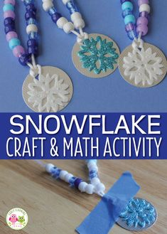 Looking for ideas for winter crafts for kids? Kids will have so much fun making these snowflake counting necklaces, that they won't realize they are working on fine motor skills and math concepts. A great hands-on math activity for your math centers, math tubs, or math work stations. Perfect for your winter theme or snow theme in preschool, pre-k, and kindergarten. Winter fine motor activity, winter math activity