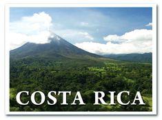 Es una tarjeta postal de Costa Rica. Es una vólcan.