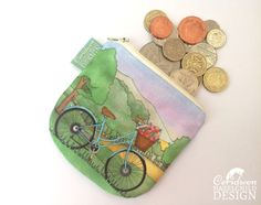 Bicycle Coin Purse Handmade Purse Zip Purse Make-up Bag by ceridwenDESIGN http://ift.tt/2no18BP
