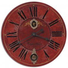 red antique wall clock.......D.