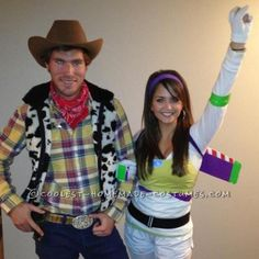 Easy Buzz Lightyear and Woody Couple Halloween Costume. Cool but wouldn't it make more sense for the girl to be Jesse?