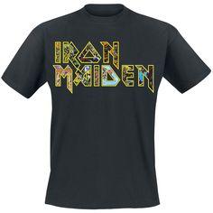 """Classica T-Shirt uomo nera """"Eddies Logo"""" degli #IronMaiden con scollo tondo e ampia stampa frontale. Disponibile fino alla taglia 5XL."""