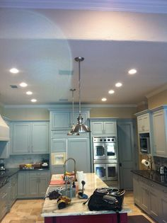 """Example of LED recessed can lighting in the kitchen! You can adjust the """"mood"""" and feel of lighting w/LED! Led Decorative Lights, Living Styles, Kitchen Lighting, Light Decorations, Lighting Ideas, Pendant Lighting, Kitchen Ideas, Kitchens, Mood"""