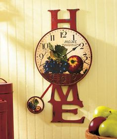 Charmant Fruit Red Apple Pendulum Wall Clock Country Kitchen