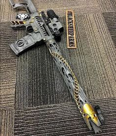 Check out the awesome Cerakote job and handguard on this Firearms The grip is a MOD Grip from Tyrant Designs. Weapons Guns, Airsoft Guns, Guns And Ammo, Armas Ninja, Custom Guns, Custom Ar, Military Guns, Military Jackets, Concept Weapons
