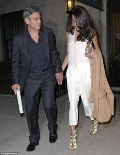Dining out: George and Amal Clooney enjoyed a date night in New York City on Friday...