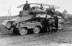 263 schwerer Panzerfunkwagen 8 rad (wheel) armored car with it's open top feature was used exclusively for reconnaissance duty Army Vehicles, Armored Vehicles, Armored Car, Mg 34, Afrika Korps, Ww2 Photos, Armored Fighting Vehicle, Military Pictures, War Photography