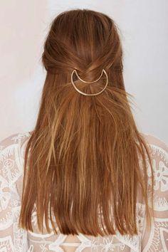 Half-moon hair barette, bohemian accessories, hippie hairstyle