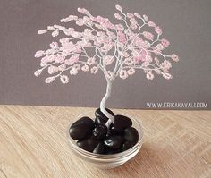 Cherry blossom wire tree sculpture with pink beads