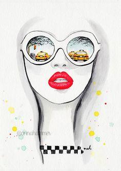 New York Art, NYC Poster, Watercolor Art Print, Fashion Illustration, Watercolor… Fashion Illustration Face, Illustration Girl, Fashion Illustrations, Watercolor Illustration, Watercolor Art Paintings, Watercolors, Nyc Art, New York Art, Watercolor Fashion