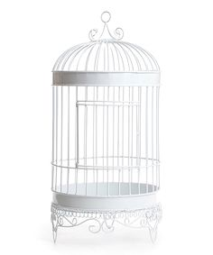 White Elegant Bird Cage Card Box