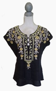 JOHNNY WAS SIZE S 100% LINEN BLACK SHORT SLEEVE EMBROIDERED BLOUSE TOP TIE STRING #ebay #forsale #airport #travel #boots #jeans #shorts #hair #makeup