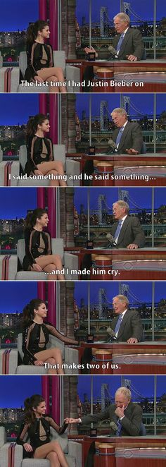 Letterman and Selena Gomez discus the Bieber situation.