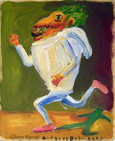 """El deportista"",gouache sobre papel, 24x 18 cm., year 1998"