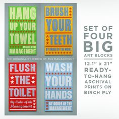 "Big Ready to Hang Bathroom Art- 12.1"" x 21"" Big Bathroom Decor Kid Set of 4 By Order of the Management Kids Room Art- Big Bathroom Wall Art"