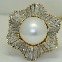 South Sea Pearl Diamond Ring | eBay