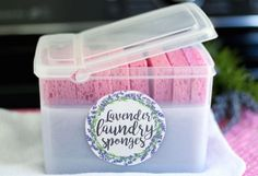 # Don't you just love the comforting, clean, and relaxing smell of lavender? Lavender laundry sponges are reusable lavender scented fabric softeners. Plastic Tubs With Lids, Plastic Trays, Lavender Uses, Lavender Scent, Diy Cleaning Products, Cleaning Hacks, Sponge Recipe, Linen Spray, Fabric Softener