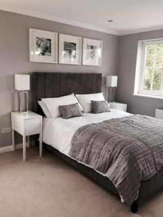 50 Small Bedroom Design Ideas: 50 Awesome Small Master Bedroom Decor Ideas And R Grey Bedroom Design, Small Bedroom Designs, Bedroom Colors, Grey Bedroom Walls, Grey Bedroom Decor, Small Master Bedroom, Home Bedroom, Master Bedrooms, Bedroom Simple