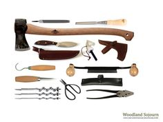 Simple set of bushcraft tools: file, chisel, axe, knife & sheath, fire steel, axe sheath, hooked knife, drawnife & sheath, carving knife, auger bits (handle not included at time of photo) scissors, pliers.