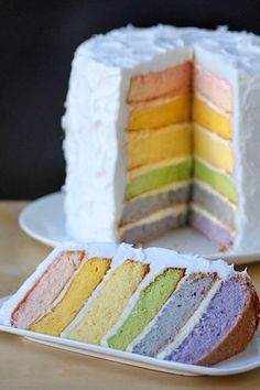 Rainbow Layer Cake with Natural Food Coloring
