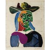 Pablo Picasso - TETE DE FEMME AU CHAPEAU (MAITRES... on MutualArt.com