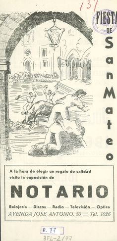 San Mateo 1962 Hoja plegada con la programación de las Fiestas de San Mateo de 1962