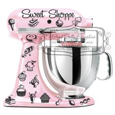 Kitchen mixer vinyl decal set 35 piece Sweet Shoppe decal set